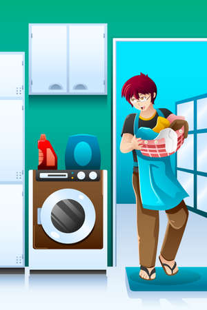 machine man: A vector illustration of man doing laundry in the laundry room