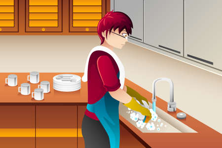 A vector illustration of man washing dishes in the kitchen Ilustração