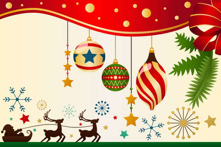 A vector illustration of Christmas ornaments background