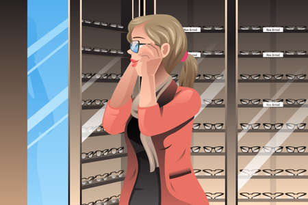 A vector illustration of customer trying out frames at a glasses store Vector