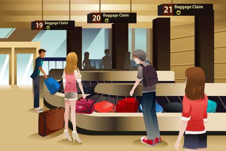 Een vector illustratie van de reizigers te wachten op hun bagage op de bagageband