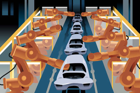assembly line: A vector illustration of automobile assembly line