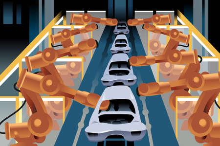 mecanico automotriz: Una ilustración del vector de la línea de montaje de automóviles