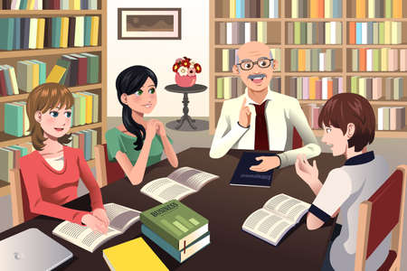 discussion: A vector illustration of college students having a discussion with their professor in the library