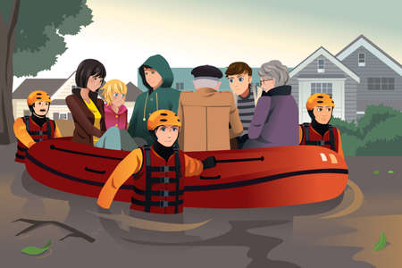 flood: A vector illustration of rescue team helping people by pushing a boat through a flooded road
