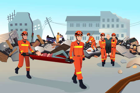A vector illustration of rescue teams searching through the destroyed  buildings  during the earthquake Çizim