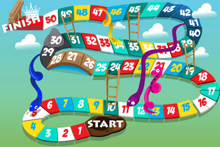 A vector illustration of snakes and ladders game