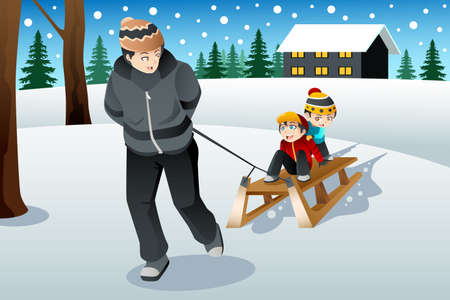 A vector illustration of father pulling his sons riding on a sled Vector