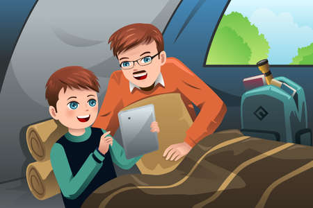 A vector illustration of father and son reading a tablet PC in a camping tent Vector
