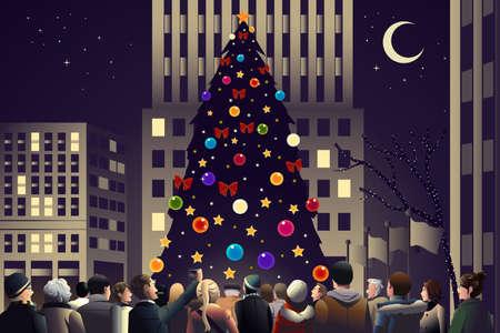 大きな火をつけられたクリスマス ツリーの近く都市でのベクトル イラスト og 群衆  イラスト・ベクター素材