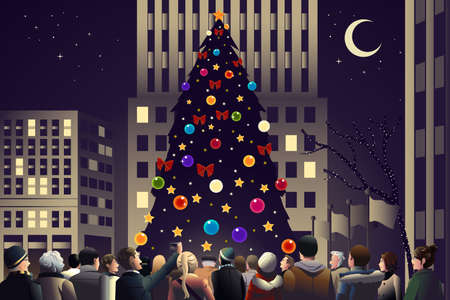 A vector illustration og crowd in the city near big lighted Christmas tree