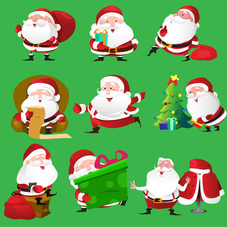 A vector illustration of Santa Claus icon sets Vector