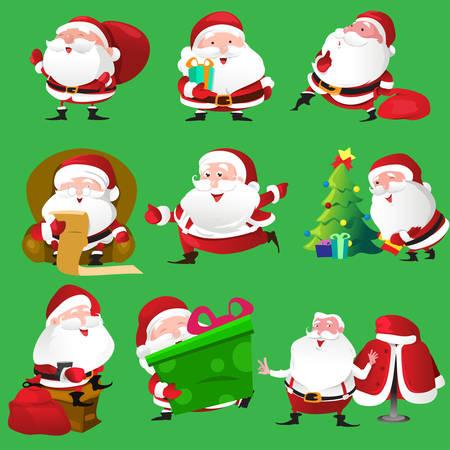Een vector illustratie van de kerstman icoon sets