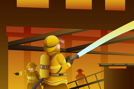 A vector illustration of firefighters putting out the building on fire