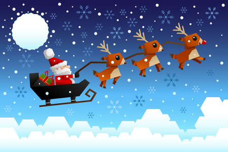 A vector illustration of Santa Claus riding the sleigh pulled by reindeers in the middle of winter night Vector