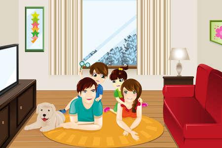 Een vector illustratie van gelukkige familie thuis