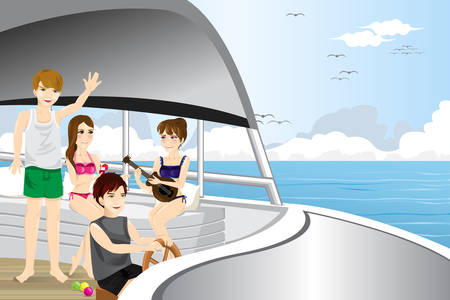 happy young people: A vector illustration of happy young people riding a motor boat
