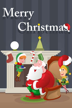 clipart chimney: A vector illustration of Christmas  greeting card design
