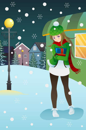 A vector illustration of a beautiful girl standing in the middle of winter night  Ilustração