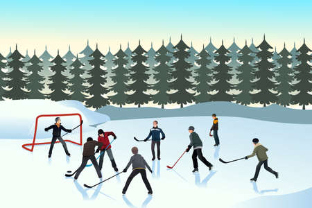 teammates: A vector illustration of men playing ice hockey on an outdoor ice rink