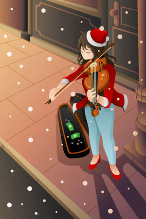 A vector illustration of street musician playing violin in the middle of winter night Vector