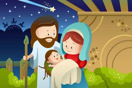 sacra famiglia: Una illustrazione vettoriale di Giuseppe, Maria e Gesù bambino per il concetto di presepi