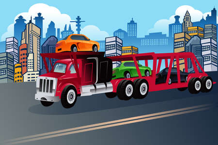 car carrier: illustration of truck carrying new cars