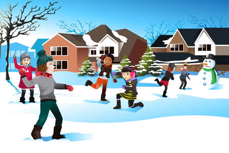illustration of happy kids playing snow ball fight together Vector