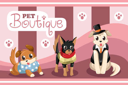 dog grooming: illustration of pet boutique