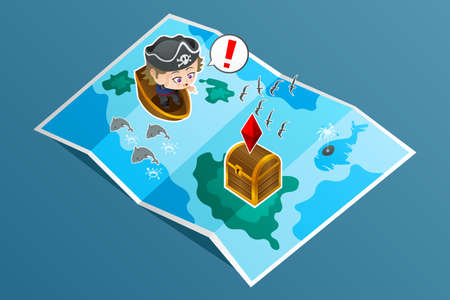 illustration of kid searching for treasure