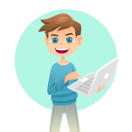 of boy: A vector illustration of cute boy holding a laptop