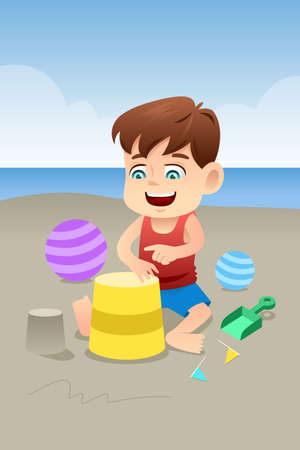 A vector illustration of cute boy playing in the beach Vector