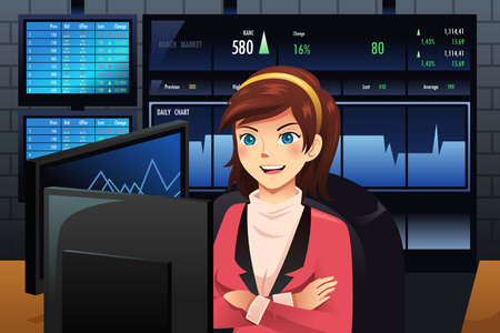 A vector illustration of Stock trader in front of multiple monitors showing graphs Vector