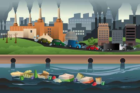 contaminacion del aire: Una ilustraci�n vectorial de la contaminaci�n en la ciudad por concepto de la contaminaci�n