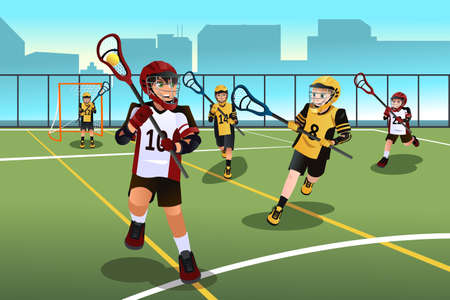 active: A vector illustration of active kids playing lacrosse Illustration