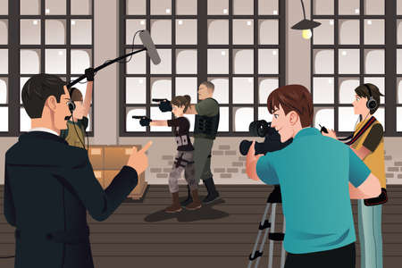 films: A vector illustration of movie production scene