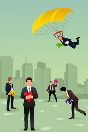 teamwork cartoon: A vector illustration of businessman with a parachute holding a piece of puzzle for teamwork concept
