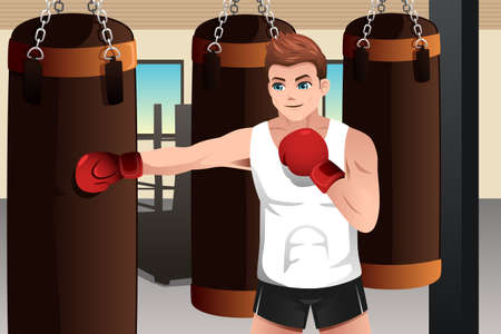 A vector illustration of boxer training on a punching bag in the gym