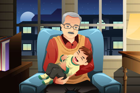 A vector illustration of grandfather holding his cute grandson