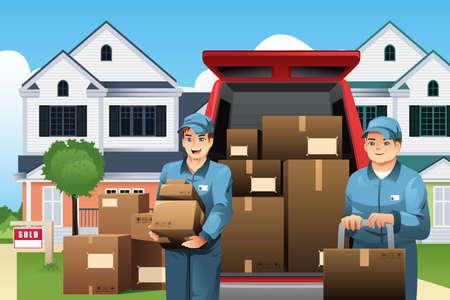 Una ilustración vectorial de moviers que llevan las cajas en frente de su camión
