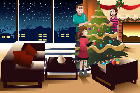 decorating christmas tree: A vector illustration of happy family decorating Christmas tree together