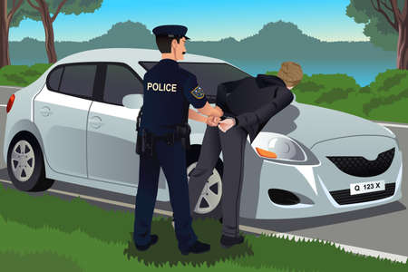 A vector illustration of cop handcuffs a law-breaker near his car Ilustracja