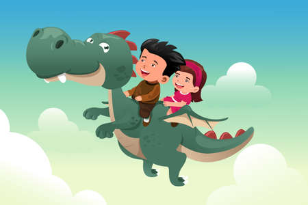A vector illustration of happy kids riding on a cute dragon Vector