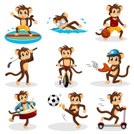 활동을하는 원숭이의 벡터 일러스트 레이션