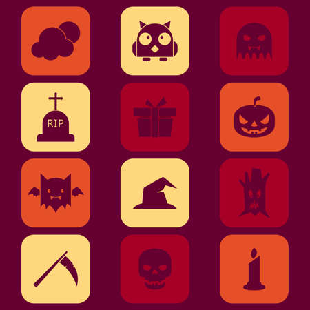 A vector illustration of Halloween icons