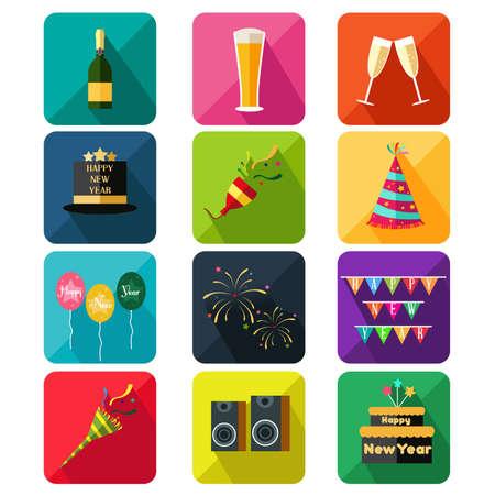 brindisi spumante: Una illustrazione vettoriale di nuovo anno parte icona set