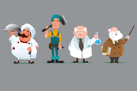 chemists: A vector illustration of a chef, builder, chemist and teacher Illustration