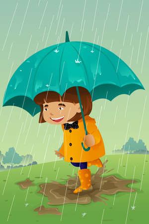 young people fun: A vector illustration of girl with umbrella and raincoat playing in the mud