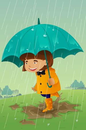 Una ilustración vectorial de la niña con el paraguas y el impermeable que juega en el barro Vectores