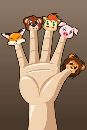 Een vector illustratie van de marionet vingers met schattige dieren